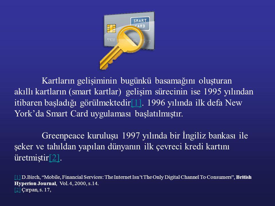 Kartların gelişiminin bugünkü basamağını oluşturan akıllı kartların (smart kartlar) gelişim sürecinin ise 1995 yılından itibaren başladığı görülmektedir[1]. 1996 yılında ilk defa New York'da Smart Card uygulaması başlatılmıştır.